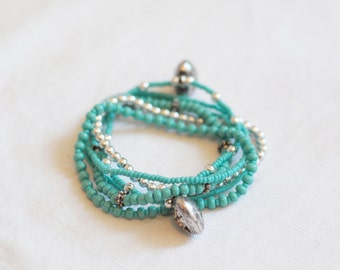 Lot of 6 bracelets of turquoise and silver