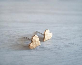 Tiny Heart Stud Earrings - Hypallergenic Titanium Posts
