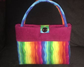 Rock the rainbow corduroy and cotton pride handbag custom handcrafted