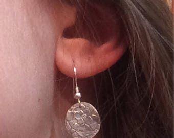 Precious metal clay silver pmc dangle design earrings