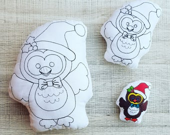 Christmas Owl Colour-in Stuffie ITH Embroidery Pattern