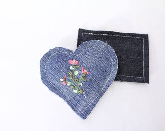 Embroidered Lavender Sachets Set of Two Upcycled Denim, Sprig on Blue 2