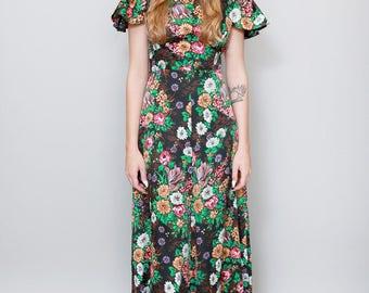 Vintage 1970's Floral Silky Ruffled Sleeve Maxi Dress.