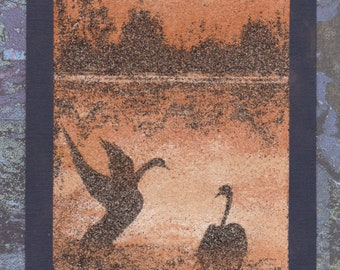 Natural sand painting 24x18 cm  Swans