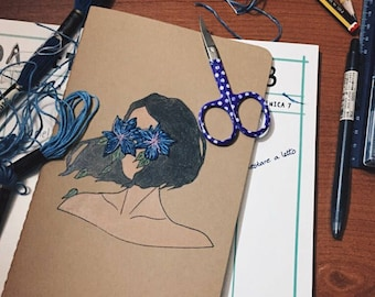 Moleskine Flowers ' lady/Moleskine Custom/Custom Notebooks/handmade/hand Embroidered