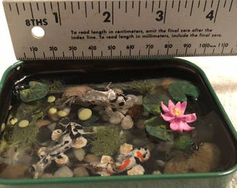 Polymer Clay mini coi pond tin altoid
