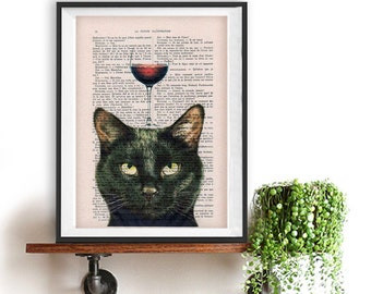 Black cat Print, cat with wine glass, French design, black and white, black cat poster Art Print on recycled french book page