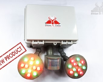 FEEDER LIGHT! Solar, Motion Activated, Amber Glowing Light for Night Hog Hunting - ECONOMY Package