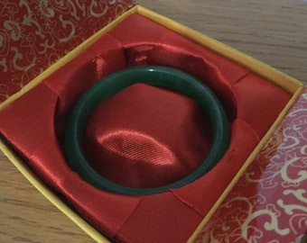 Natural Transparent Green Jade Bangle