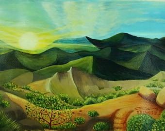 SUNSHINE No1 Original Acrylic Landscape Painting