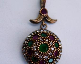 sterling silver pendant , multi stone pendant