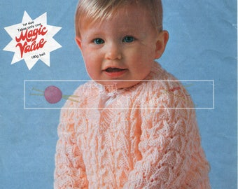 Baby Patterned V-Neck Sweater 18-22in DK Patons 7501 Vintage Knitting Pattern PDF instant download