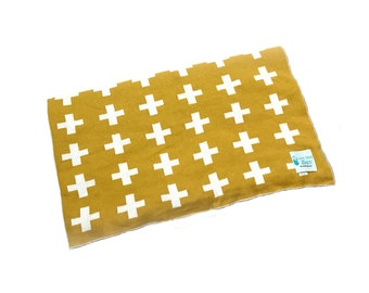 Reversible Knitted Cotton Blanket/Throw - Yellow cross