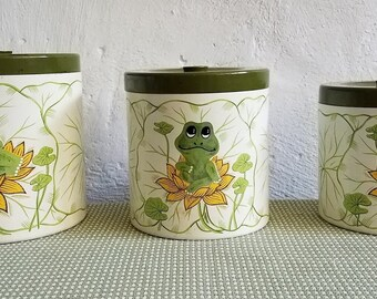 Vintage Sears Roebuck and Co.1977 3-Piece Neil the Frog Canister Set Japan