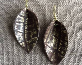 Brown and Gold Mini Genuine Leather Leaf Earrings (Inspired by Joanna Gaines of Fixer Upper)