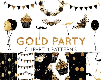 Gold Foil Clipart - Gold Digital Paper - Seamless Patterns - Birthday Party Graphics - Invitation Clipart - Wreath, Bunting, Cake, Flowers
