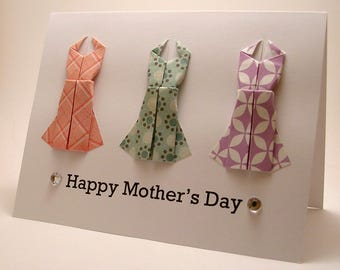 Origami Dress Mother's Day Card (pink teal purple)