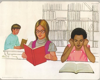 1974 Educational Illustrations - Library Time