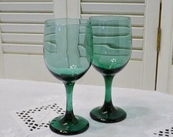 Vintage Libbey Juniper Wine Glass Set of 2 Water Goblet Stemware Glassware Panchosporch