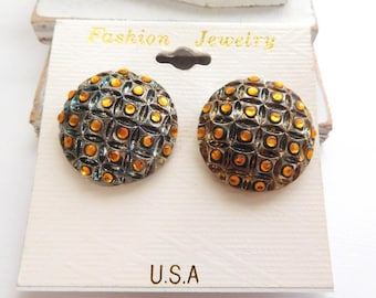 Vintage Antiqued Silver Dome Amber Orange Faux Crystal Dome Clip On Earrings O28