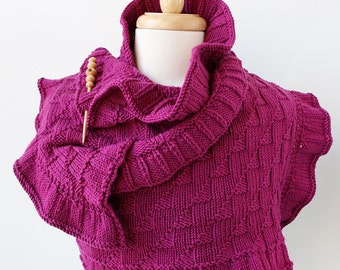 Rococo Hand Knit Shawl - Luxurious Merino Wool - Raspberry Color - Wearable Fiber Art