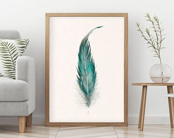 FEATHER PASTEL PAINTING Art Print, Feather Art Print, Turquoise Feather Drawing Print, Living Room Bedroom Wall Art, Girl Room Wall Decor