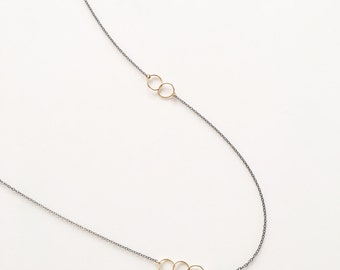 Unique Oxidized Sterling Silver Chain and Delicate Gold Filled Circle Accent Necklace