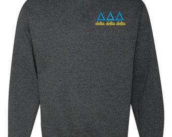 Delta Delta Delta, Tri Delta, Delta Delta Delta Quarter Zip, Tri Delta fleece, Greek sweatshirt, Tri Delta quarter zip, sorority sweatshirt