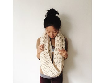 Giant Cowl Scarf in Oatmeal // handmade crochet // wool blend