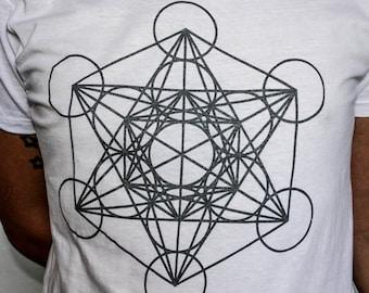 MENS  White Metatrons Cube Printed T shirt