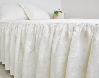 Linen Bed Skirt, Custom Dust Ruffle in Full Queen King - Ruffled, Gathered Bedskirt - Cream, Ecru, Ivory, Cottage, Shabby Chic Bedding