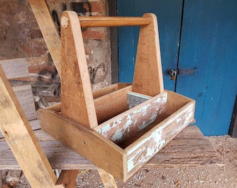 Vintage trug, tote, carpenters box, Timber toolbox.