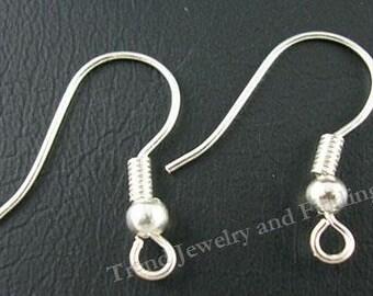 BULK  200 Silver Earrings Hooks - Silver Earwires - Jewelry Making Findings supply  wholesale -EF016