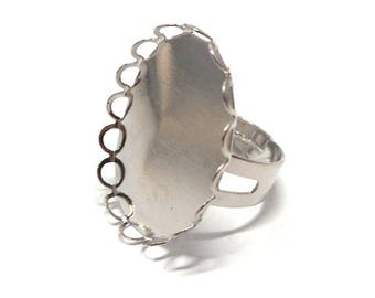 Ring support silver metal cabochon 25 * 18