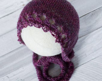 Bonnet - Baby Bonnet - Newborn Bonnet - Willow Bonnet - Newborn Photo Prop - Newborn Prop - Willow - Raspberry Bonnet - Raspberry