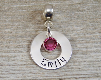 Hand Stamped Jewelry - Personalized Jewelry - Charm For Bracelet - Sterling Silver Washer - Name & Birthstone - Lobster Clasp or Slider Bail