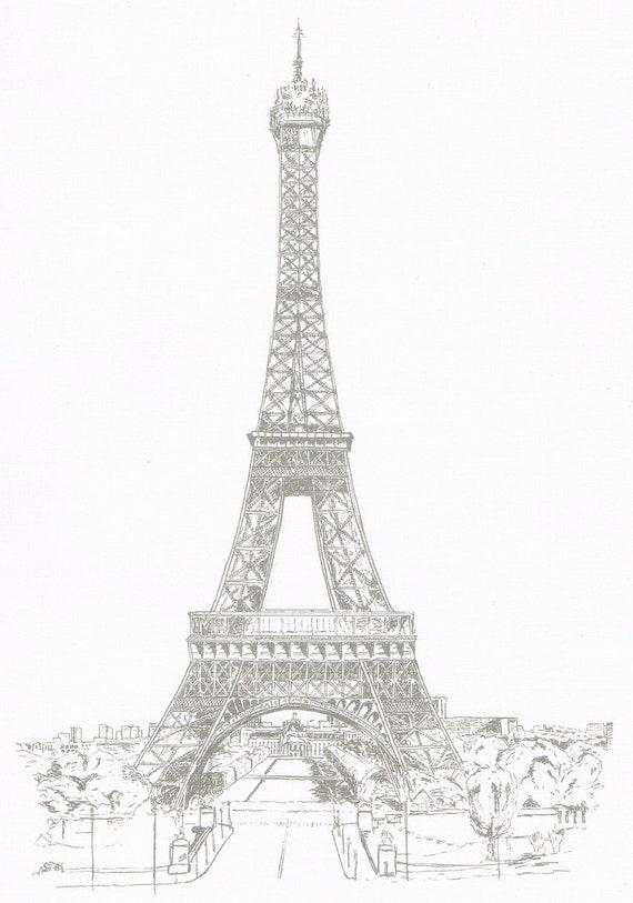 Amato Torre Eiffel Stampa del mio disegno originale di un edificio GL79