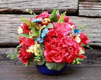 Silk Floral Arrangement - Red and Blue (S18-105)