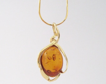 Amber gold pendant necklace 24 k over Silver 925/1000th yellow