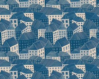 Sarah Golden for Andover FABRIC - Around Town - Abodes in Sepia
