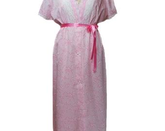 vintage 1960's cherry blossom peignoir set / pink white / floral lace / ribbon belt / nightgown / women's vintage lingerie / size large