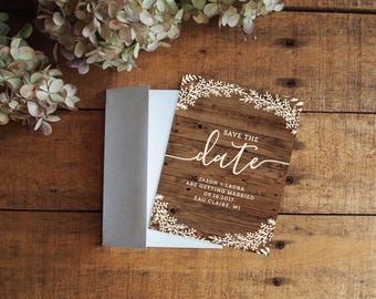 Save the Date, Save the Date Card, Woodgrain Save the Date, Rustic Save the Date, Floral Save the Date, Shabby Chic, Barn Wedding