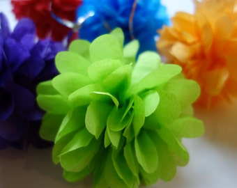 4 - Extra Small GARDENIA FLUFFED PuffScape CONNECTING Tissue Paper Flower Pom Puffs Cobalt Blue & Kiwi Wedding Party Banister Decoration