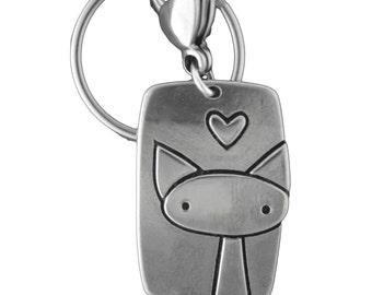 Cute Cat Keyring - White Bronze Cat Key Chain