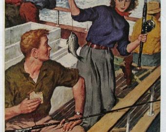 1952 Amos Sewell Art - Couple Deep Sea Fishing Trip - Man & Woman Fishing - Retro Magazine Story Illustration