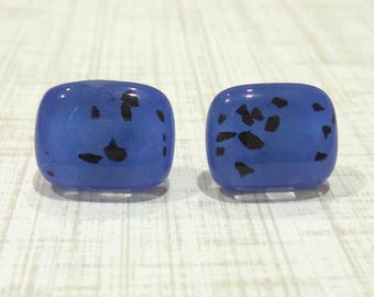 Blue and Black Earrings Blue Post Earrings, Black Speckles, Hypoallergenic, Fused Glass Jewelry - Layne -8