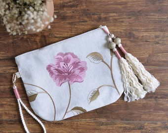 Plum Garden spring season style embroidery flower pattern soft wristlet bag. Ready for ship