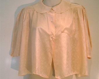 Vintage 1930s Peach Rayon Bedjacket Lingerie Blouse