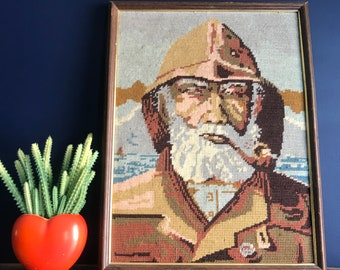 Framed Fisherman With Pipe Wool Yarn Needlepoin Bearded Man With Pipe