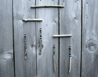Oregon Driftwood Mobile with Rainbow Beads, Beach Decor, Driftwood Wall Hanging